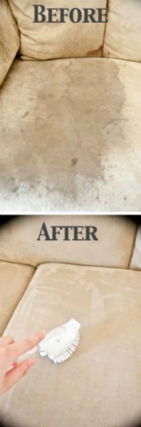 Làm sạch những vết bẩn do nước, đồ ăn bám trên sofa nỉ
