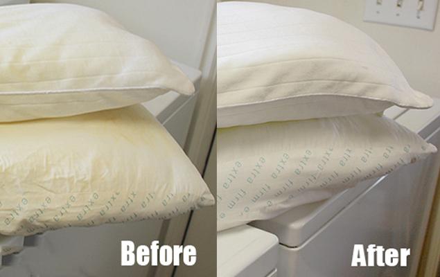 So sánh ruột gối trước và sau khi được tẩy trắng